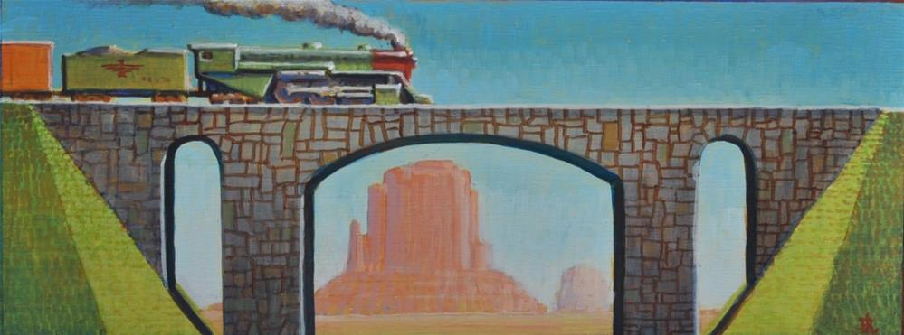 """Freight Train"" original fine art by Robert LaDuke"