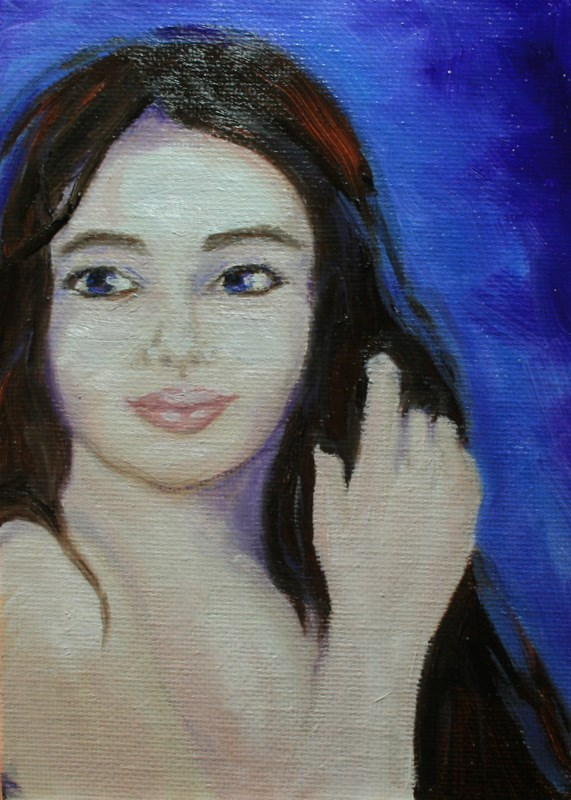 """Girl With the Violet Eyes"" original fine art by Jean Nelson"