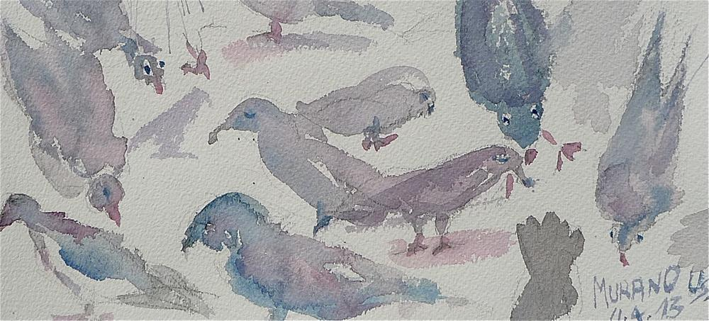 """Pigeons on Murano"" original fine art by Ulrike Schmidt"