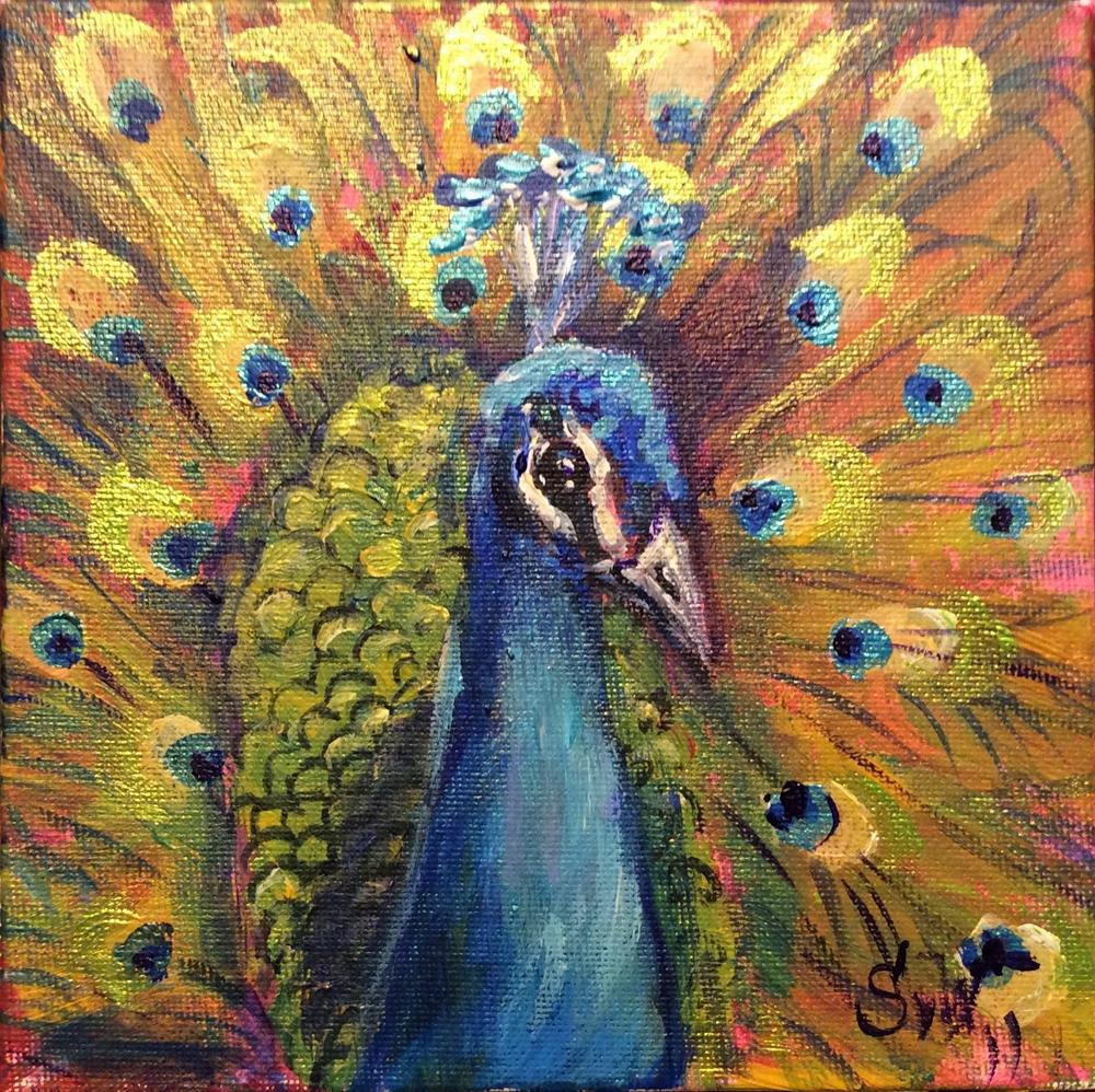 """Peacock painting"" original fine art by Sonia von Walter"
