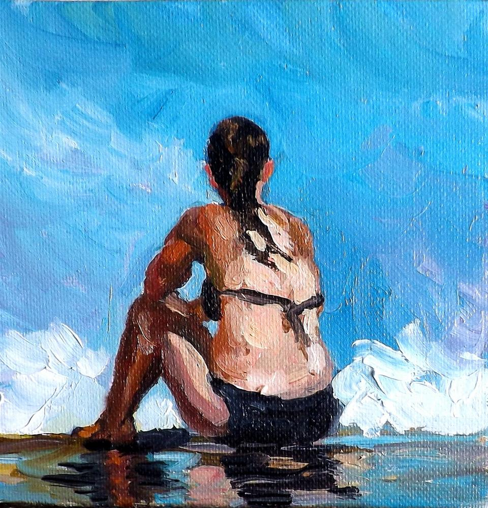"""A woman at the seaside"" original fine art by Run-      Zhang Zane"