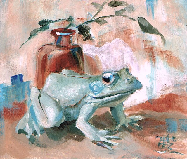 """Limited Palette Frog #1"" original fine art by Theresa Taylor Bayer"