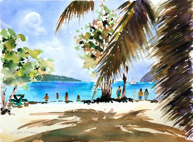 """Beautiful Magen's Bay in St.Thomas"" original fine art by Lisa Fu"