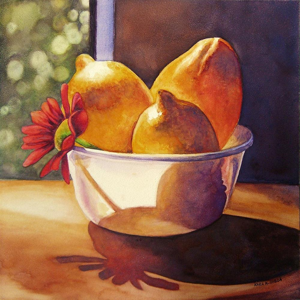 """Sunlit Lemons"" original fine art by Kara K. Bigda"