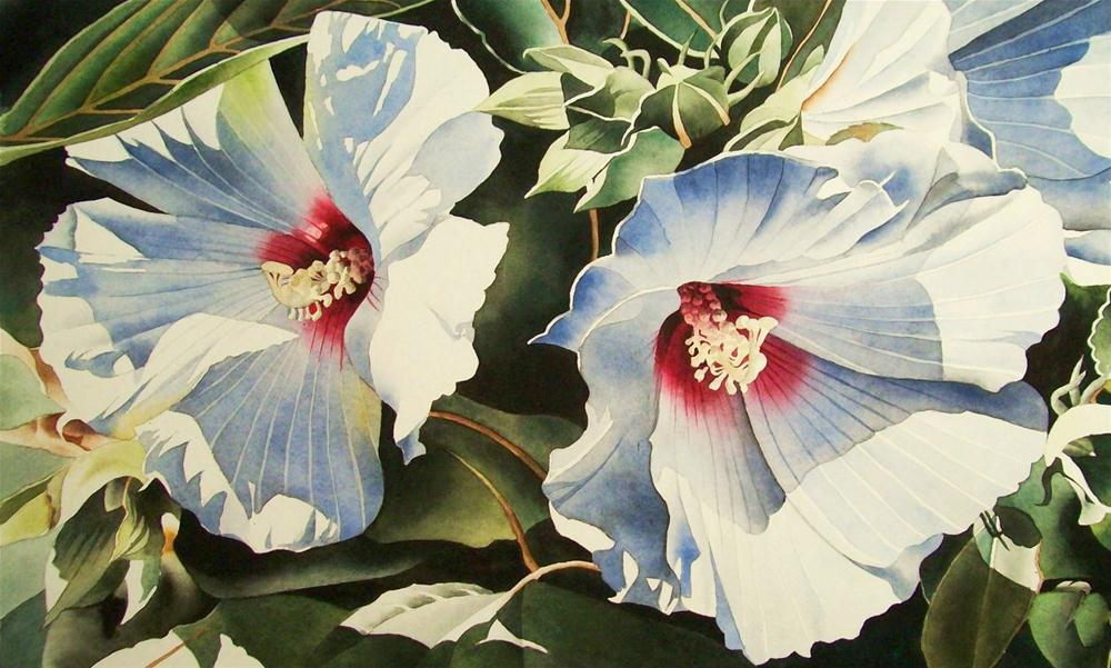"""White Hybiscus Blossoms"" original fine art by Jacqueline Gnott, whs"