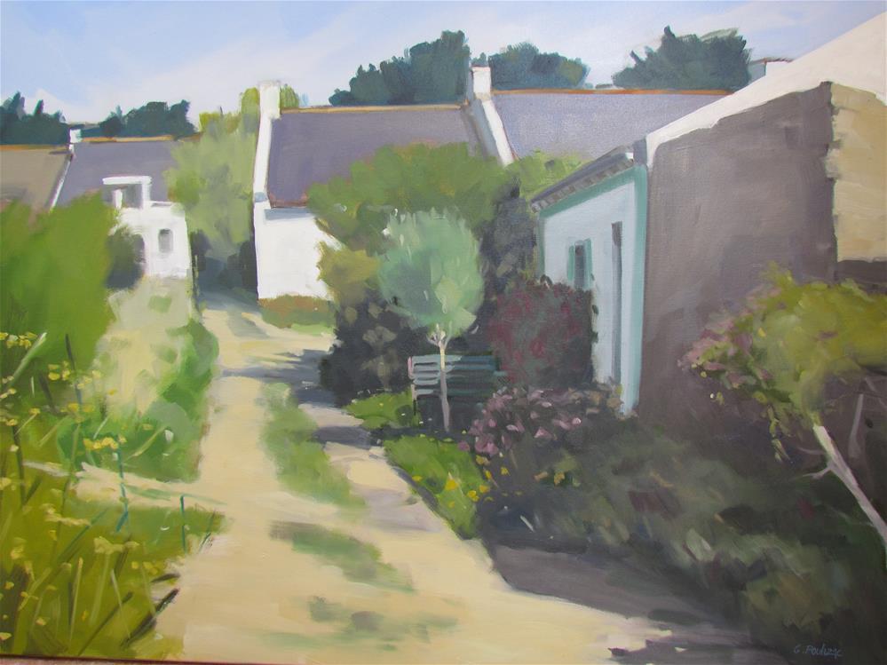 """""""village belle ile"""" original fine art by gilles Poulizac"""