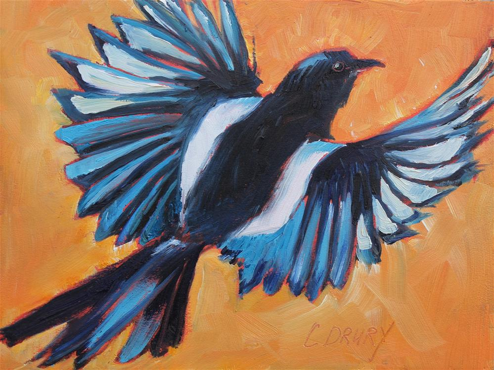 """Magpie Taking Flight"" original fine art by Colleen Drury"