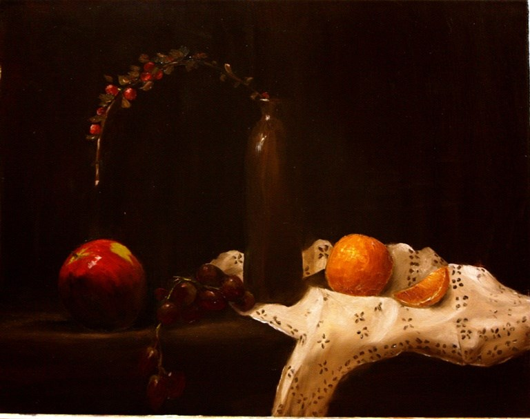"""Oranges on Lace"" original fine art by Mary Datum"
