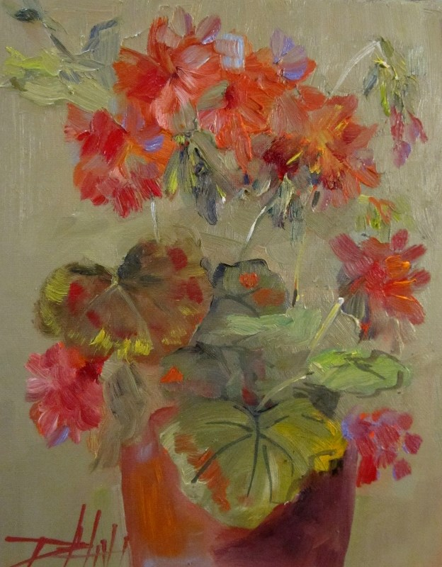 """Geraniums in a Clay Pot"" original fine art by Delilah Smith"