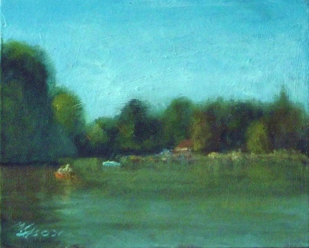 """Michael rows the boat ashore"" original fine art by Michael Sason"