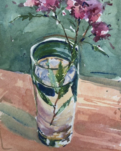 """Flowers in Water Glass"" original fine art by Laurie Maher"