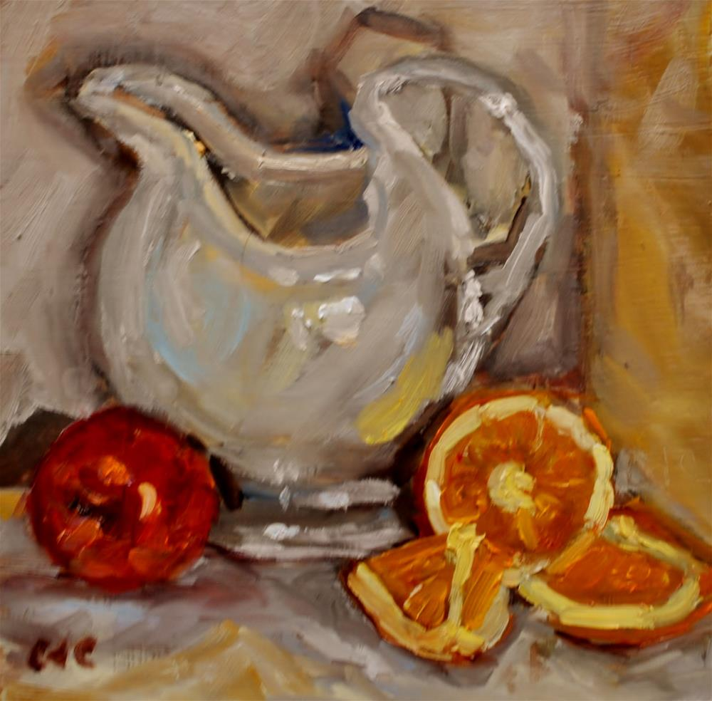 """Oranges and Apple Painting"" original fine art by Catherine Crookston"