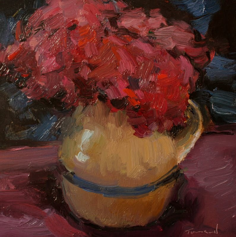 """Red Flowers in Vase"" original fine art by Kathryn Townsend"