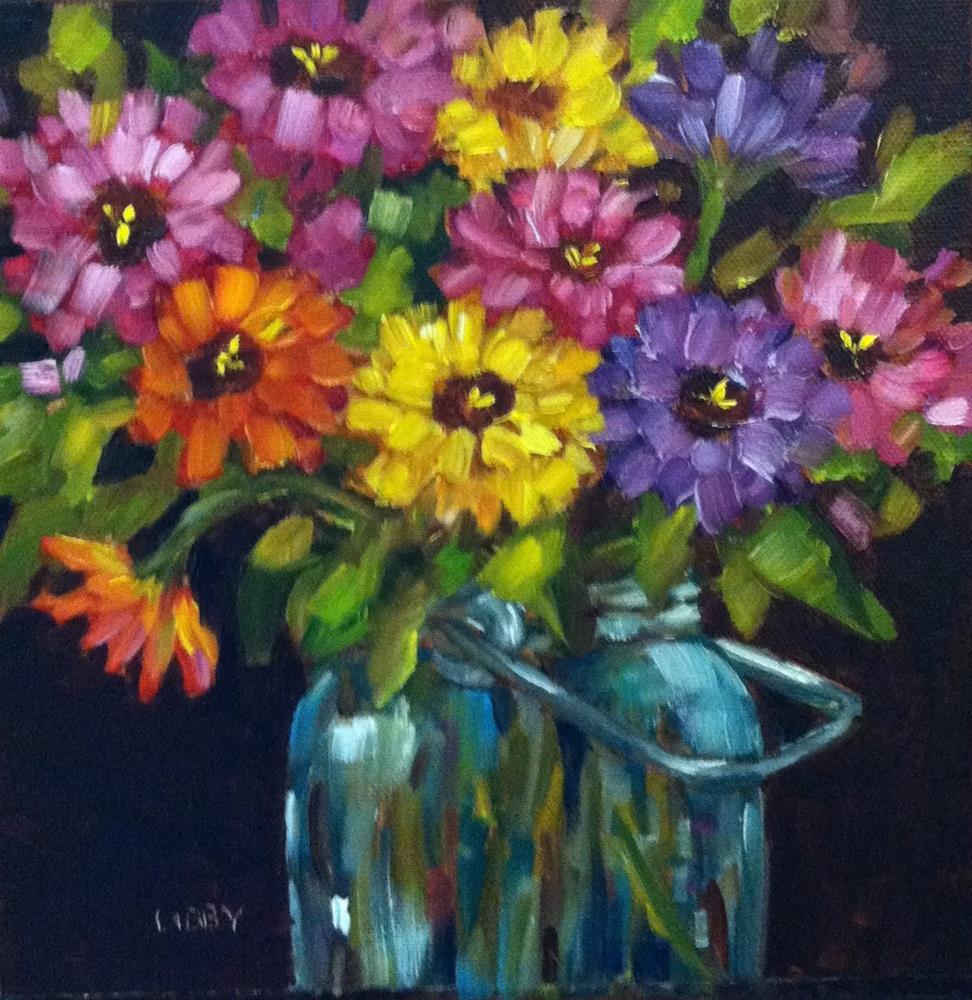 """Zinnia Jar"" original fine art by Libby Anderson"