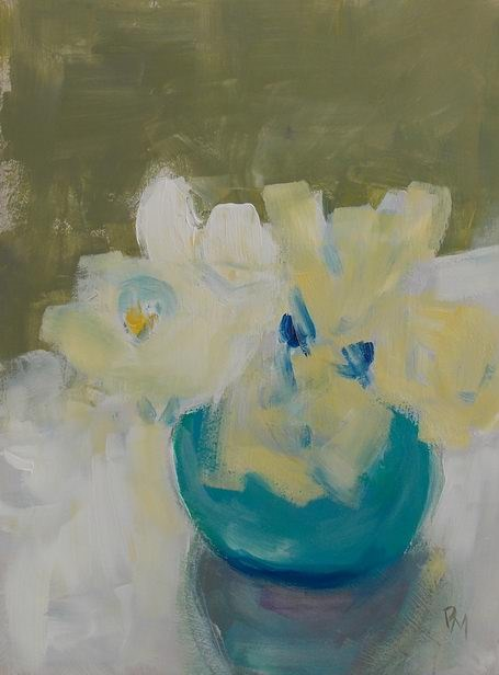 """White Flowers"" original fine art by Pamela Munger"