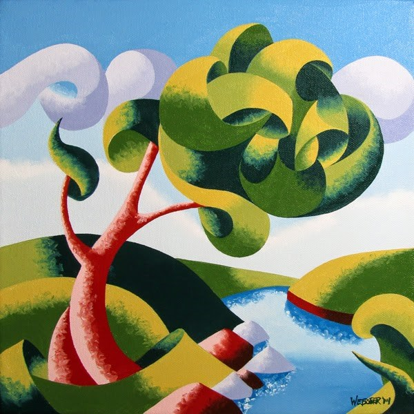 """Mark Adam Webster - Abstract Geometric Landscape Oil Painting 12x12"" original fine art by Mark Webster"