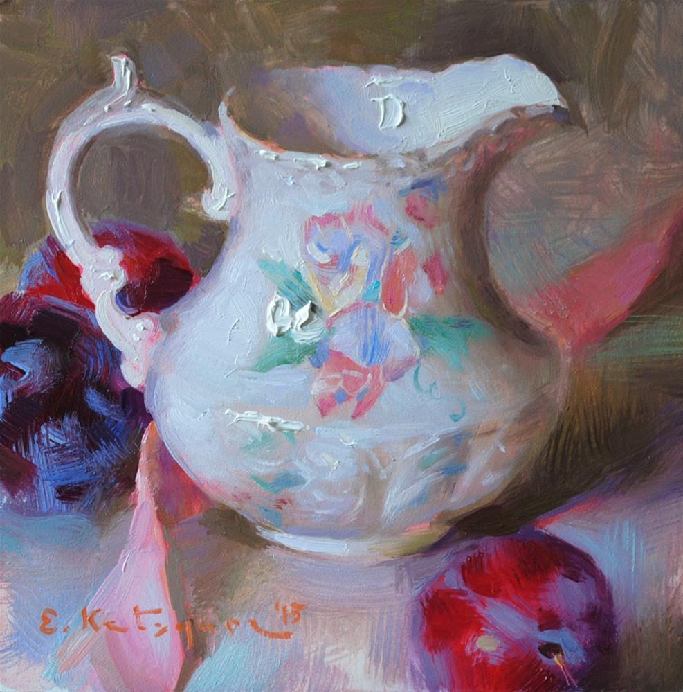 """Creamer and Plums"" original fine art by Elena Katsyura"