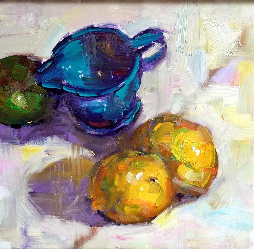 """Lemons in Southern Light, 8x8"" original fine art by Ann Feldman"