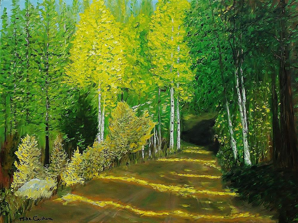 """Afternoon Sunshine Through The Aspens"" original fine art by Mike Caitham"