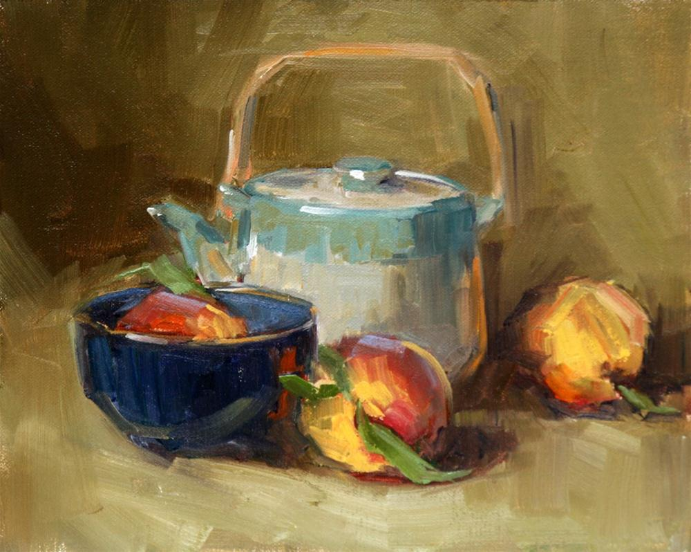 """teapot and peaches"" original fine art by Carol Carmichael"