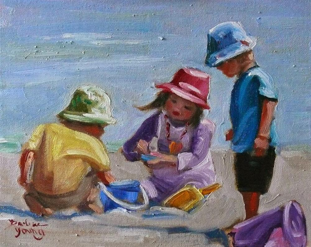 """751 Beach Kids"" original fine art by Darlene Young"
