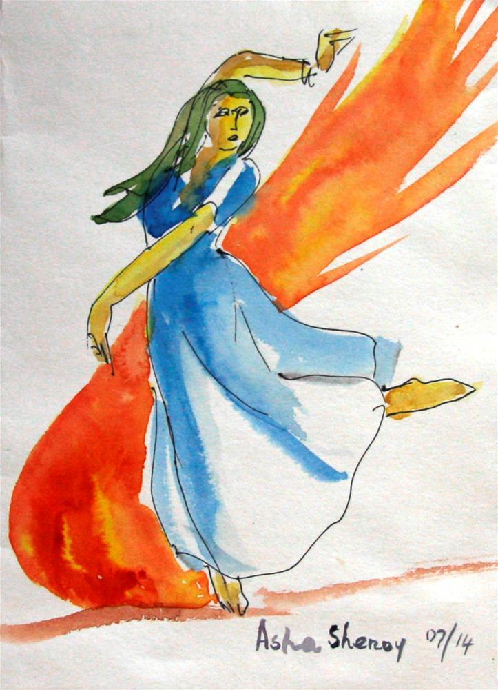 """The blazing dancer"" original fine art by Asha Shenoy S"