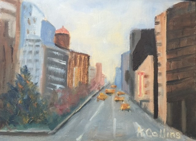 """Going Downtown"" original fine art by Kathy Collins"