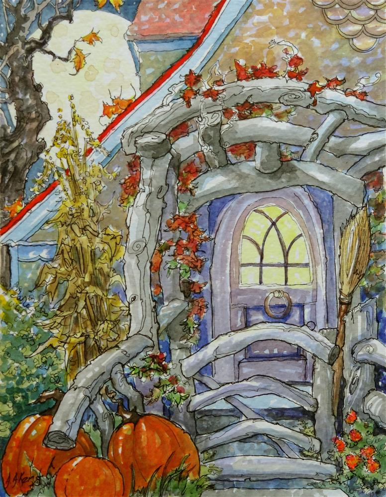 """""""A Moon-full Autumn Welcome Storybook Cottage Series"""" original fine art by Alida Akers"""
