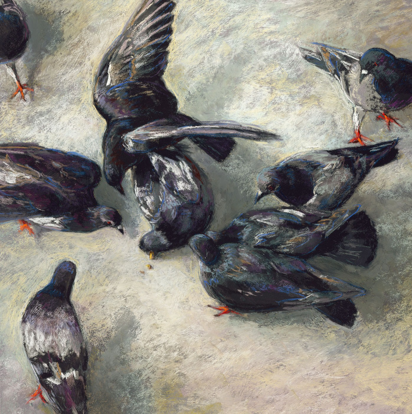 """Pigeon Fight"" original fine art by Rita Kirkman"