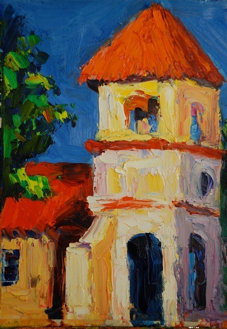 """Chapel Tower"" original fine art by Liz Zornes"