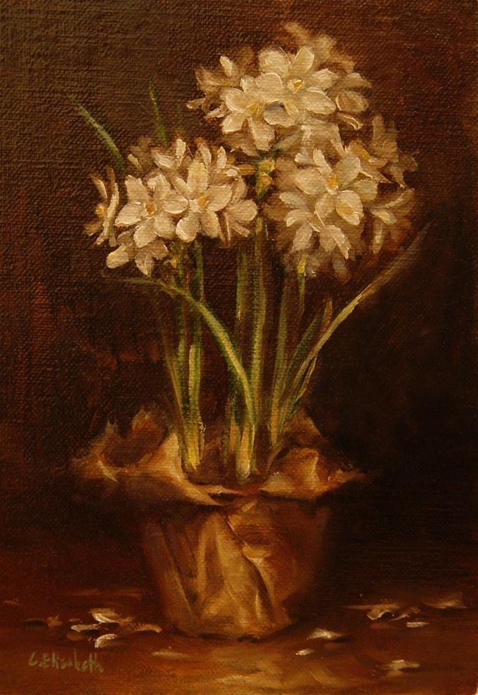 """Paper Whites and Paper  Oil on 5x7 Linen Panel"" original fine art by Carolina Elizabeth"