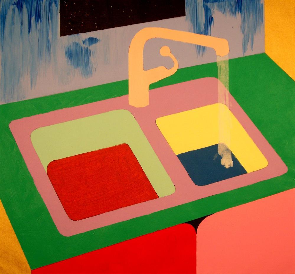 """Kitchen Sink at Night"" original fine art by Lisa Fulton"