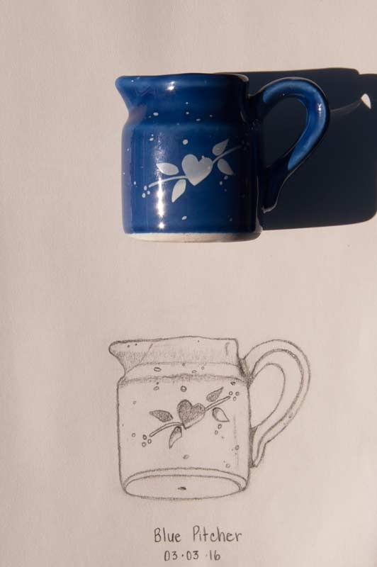"""Daily Sketch: Blue Pitcher"" original fine art by Debbie Lamey-Macdonald"