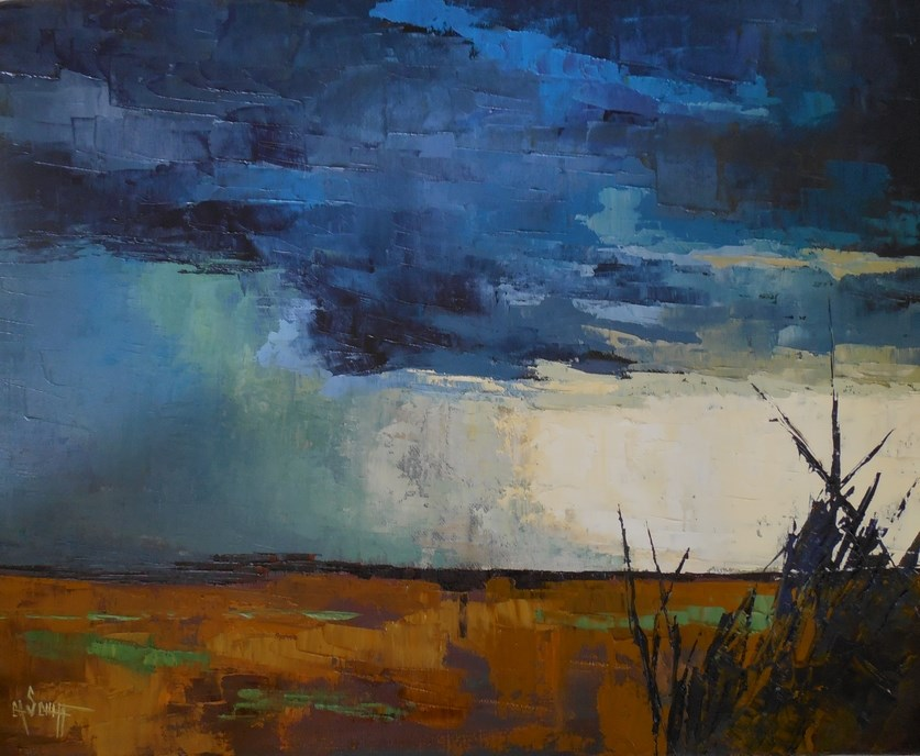 """Large Landscape Painting, Storm Painting, StormFront by Carol Schiff, 24x30x1.5 Original Oil Pain"" original fine art by Carol Schiff"