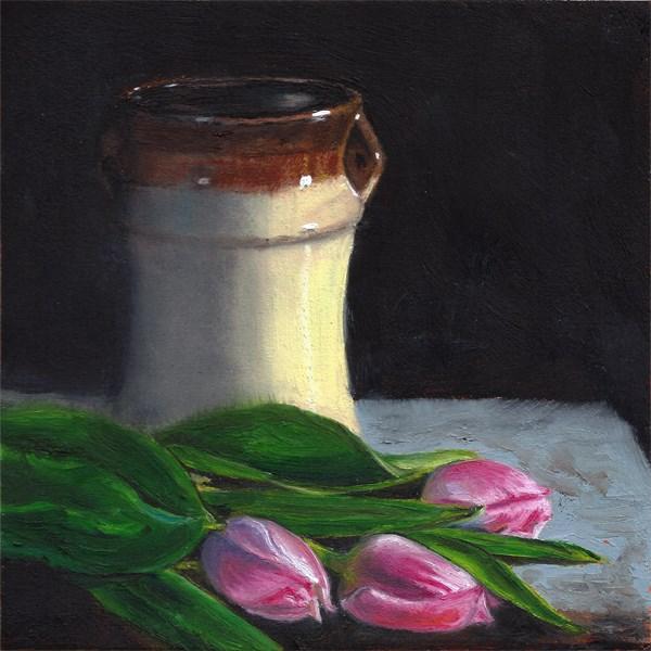 """""""Tulips with glazed vase"""" original fine art by Peter J Sandford"""