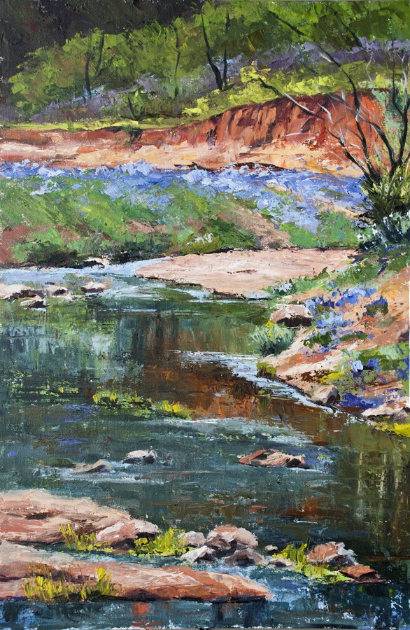 """KM2864 Springtime in the Country by Denver, Colorado artist Kit Hevron Mahoney (36x24, landscape, or"" original fine art by Kit Hevron Mahoney"