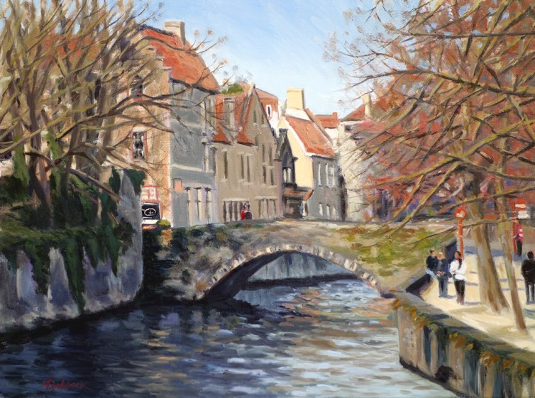 """Bridge in Bruges Belgium"" original fine art by Daniel Fishback"