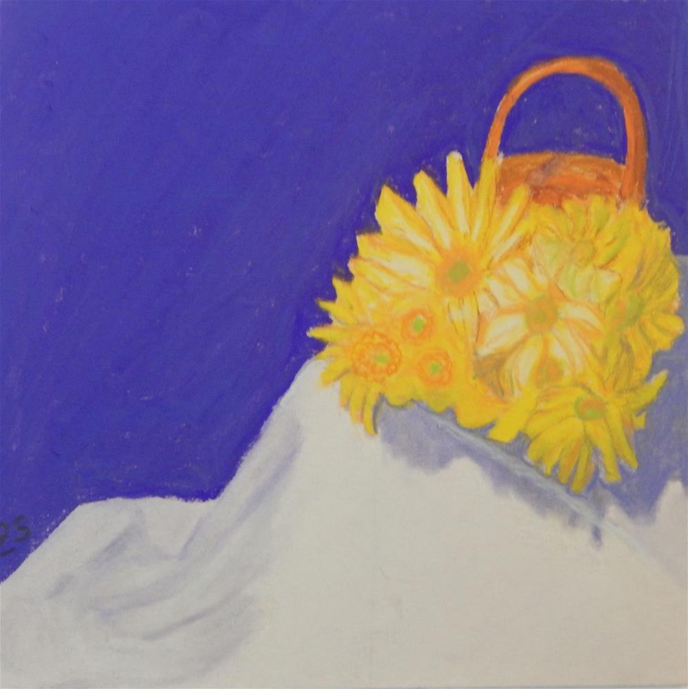 """Yellow Daisys in Basket"" original fine art by Elaine Shortall"