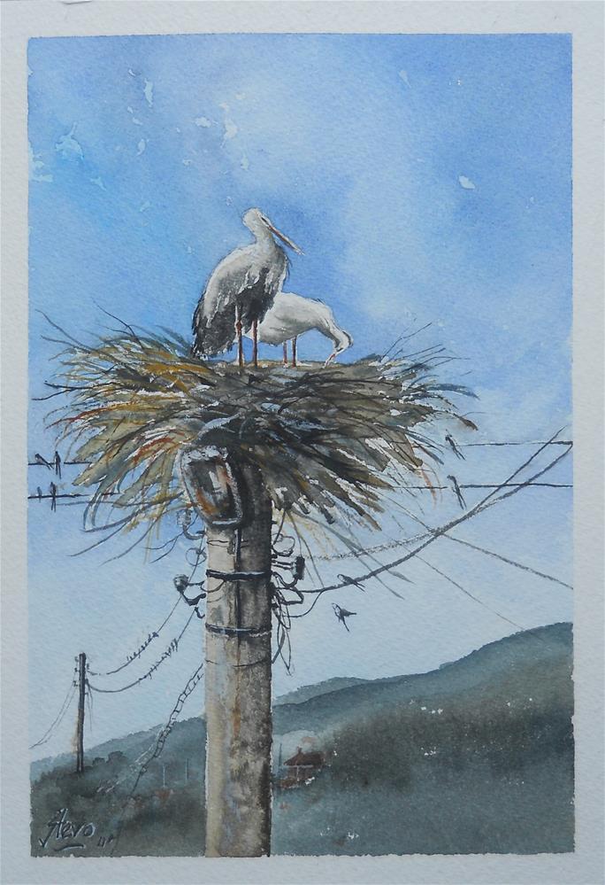 """The Stork Colony"" original fine art by Martin Stephenson"