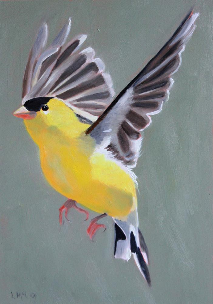 """Young at Heart, Finch in Flight"" original fine art by Linda McCoy"