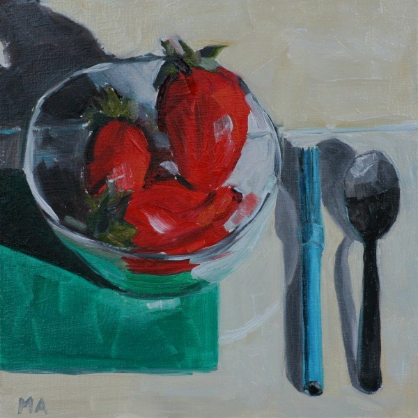 """Strawberry-Marker-Spoon"" original fine art by Aniko Makay"