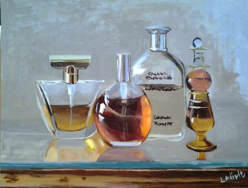 """Perfume Bottles"" original fine art by Linda Adiele"