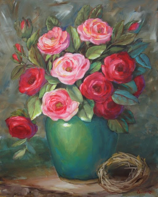 """""""Roses with Bird Nest"""" original fine art by Sue Cervenka"""