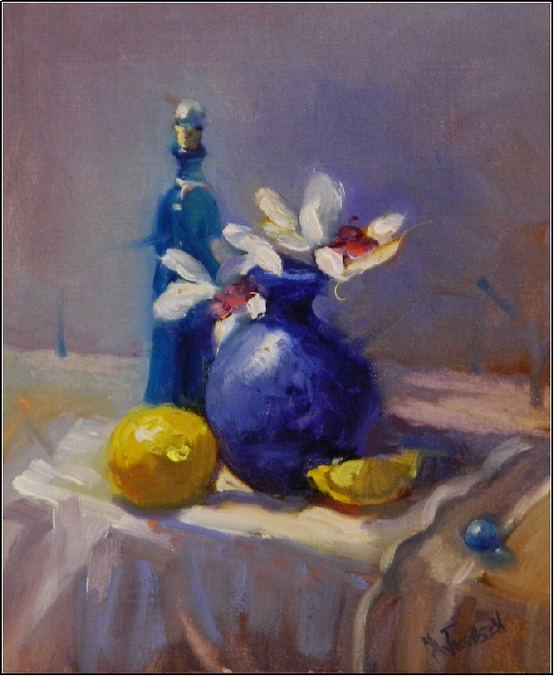 """It's the little things that count, 8x10, oil on linen panel, lemons still life, floral alla prima,"" original fine art by Maryanne Jacobsen"