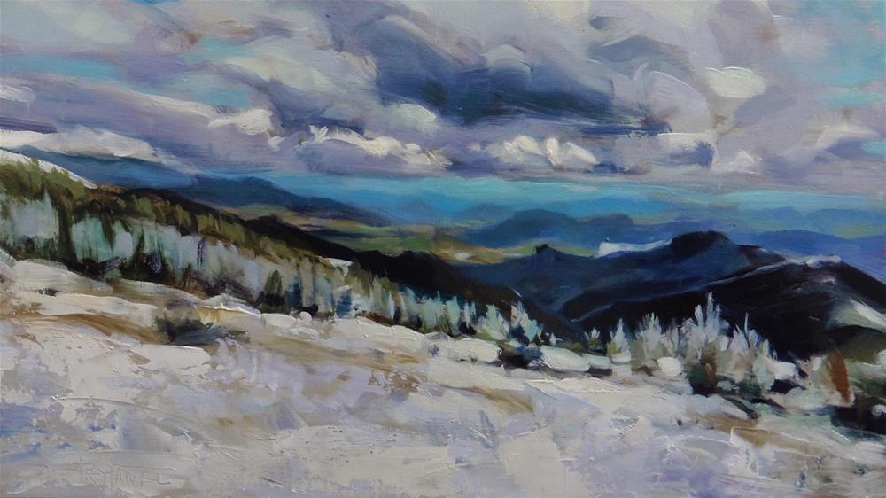 """Snowy mountain"" original fine art by Víctor Tristante"