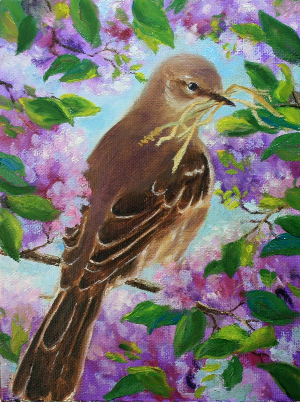 """Mockingbird in Lilac Bush"" original fine art by Jean Nelson"