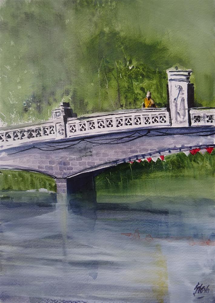 """Monk on a bridge in Bangkok"" original fine art by Martin Stephenson"