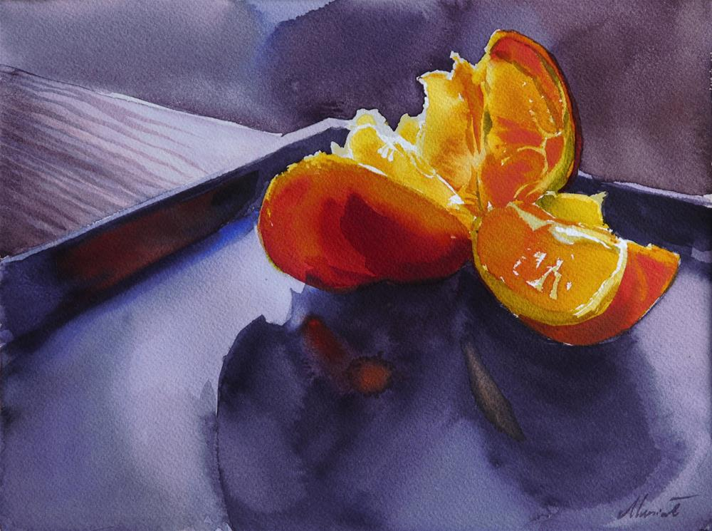 """orange triangle"" original fine art by Beata Musial-Tomaszewska"