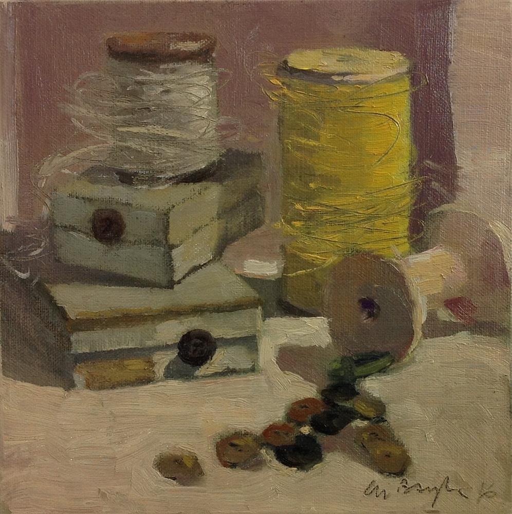 """A vintage sewing kit"" original fine art by Christine Bayle"