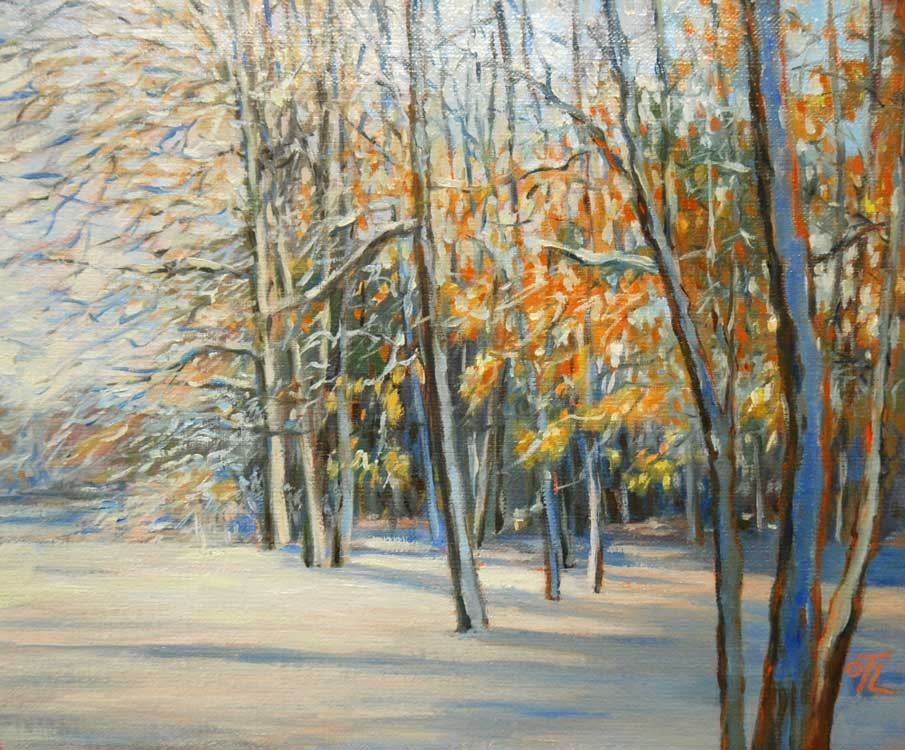 """DCS # 9 Snowy forest"" original fine art by Olga Touboltseva-Lefort"